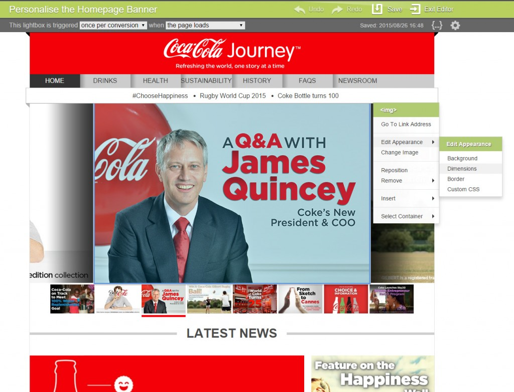 An example of what Bunting's editor looks like on the Coca Cola website