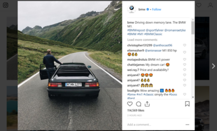 BMW Instagram Post - Influencer Marketing