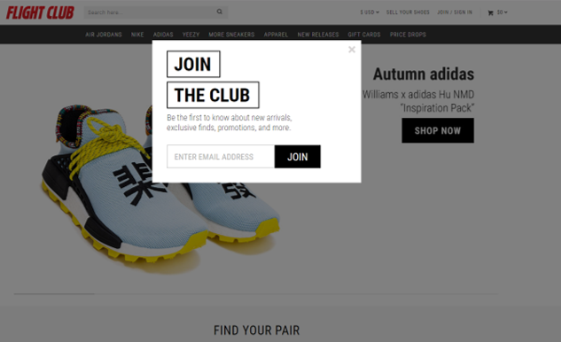 FlightClub use CTA Call To Action Pop-ups