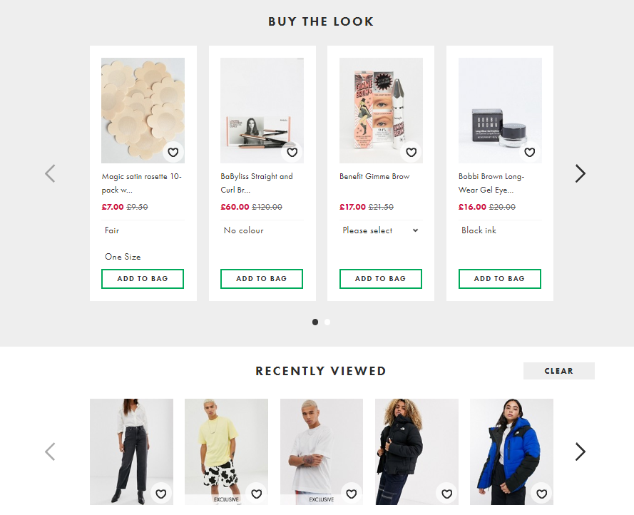 ASOS Product Recommendation Examples