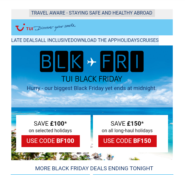 TUI -Black Friday - Scarcity Marketing Examples