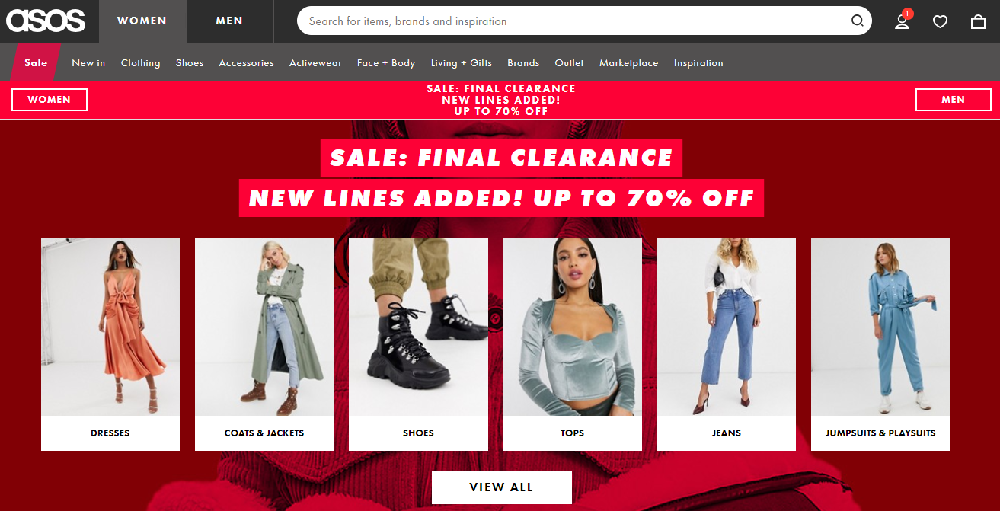 ASOS - eCommerce Homepage Design
