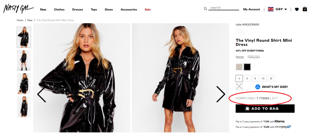 Nasty Gal - Banners for scarcity marketing